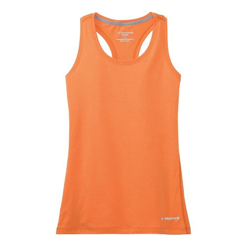 Womens Brooks Versatile Printed Racerback IV Tank Technical Top - Creamsicle S