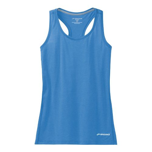 Womens Brooks Versatile Printed Racerback IV Tank Technical Top - Cornflower XS