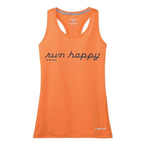 Womens Brooks Versatile Racerback IV RunHappy Tank Technical Top - Creamsicle XL