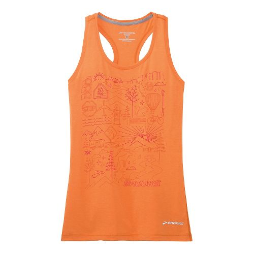 Womens Brooks Versatile Racerback IV Scenic Run Tank Technical Top - Creamsicle XS