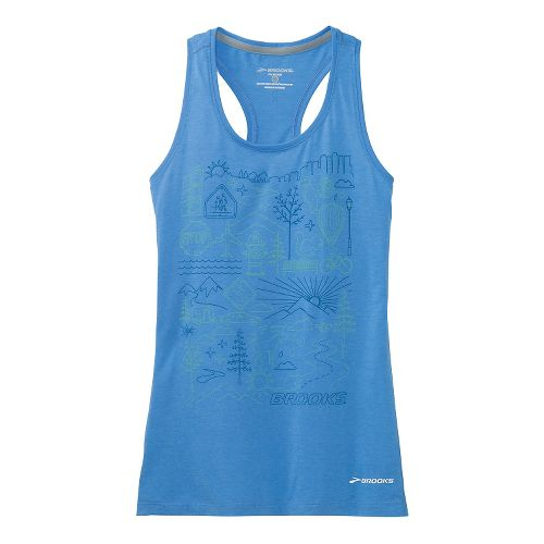 Womens Brooks Versatile Racerback IV Scenic Run Tank Technical Top - Cornflower XS