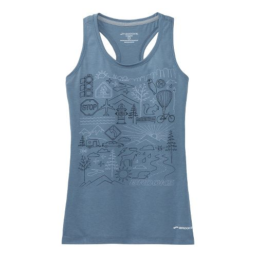 Womens Brooks Versatile Racerback IV Scenic Run Tank Technical Top - Storm XS