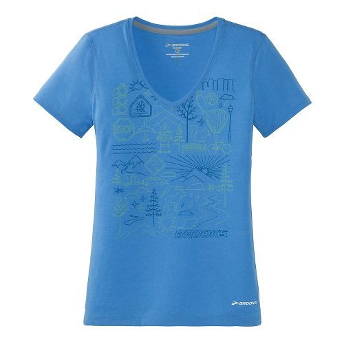 Womens Brooks Versatile IV Scenic Run Short Sleeve Technical Top - Cornflower L