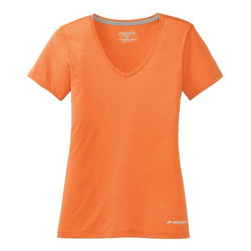 Womens Brooks Versatile IV Short Sleeve Technical Top - Creamsicle S