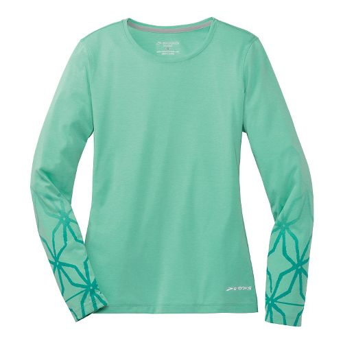 Womens Brooks Versatile Printed IV Long Sleeve No Zip Technical Top - Lagoon L