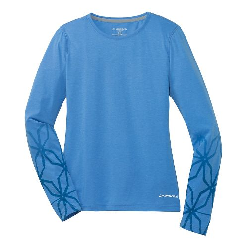 Womens Brooks Versatile Printed IV Long Sleeve No Zip Technical Top - Cornflower XS