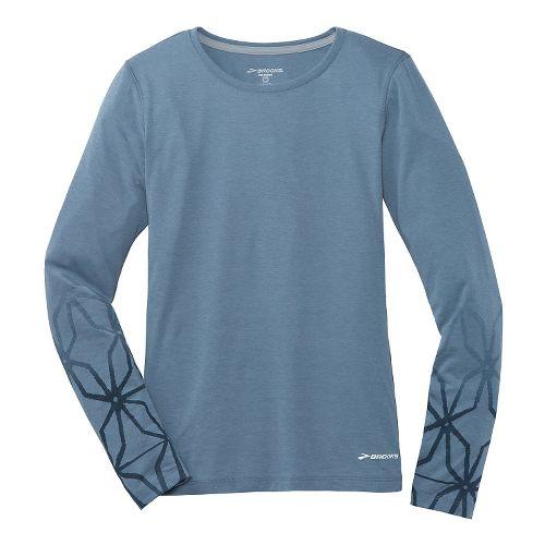 Womens Brooks Versatile Printed IV Long Sleeve No Zip Technical Top - Storm L