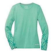 Womens Brooks Versatile Printed IV Long Sleeve No Zip Technical Top