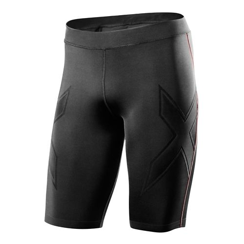 Mens 2XU XTRM Compression Unlined Shorts - Black/Scarlet XL