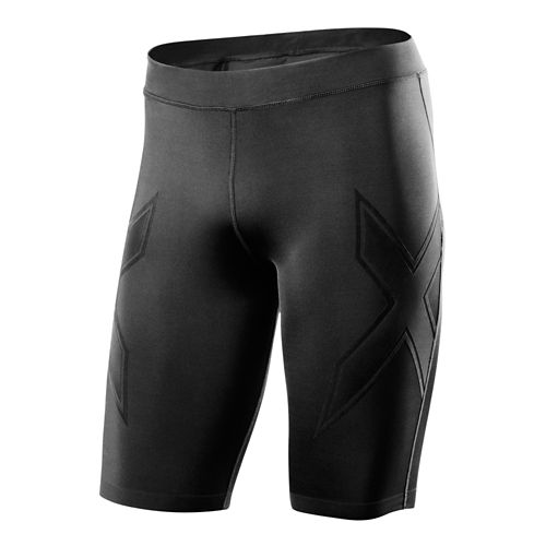 Mens 2XU XTRM Compression Unlined Shorts - Black/Scarlet M