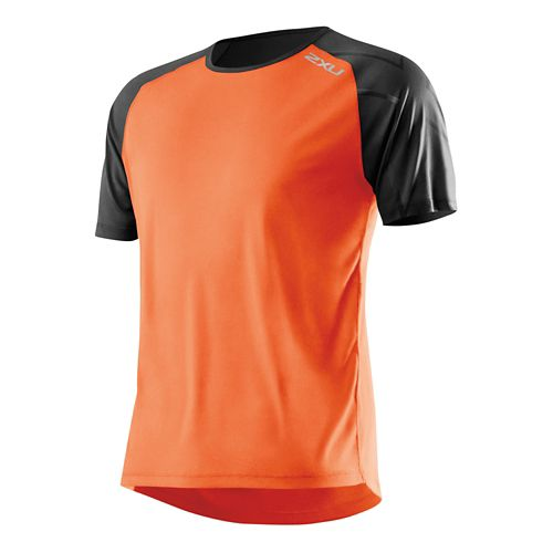 Mens 2XU GHST Short Sleeve Technical Top - Lotus Orange/Black L