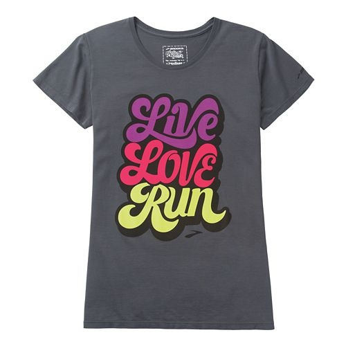 Womens Brooks Live Love Run Short Sleeve Non-Technical Tops - Anthracite L