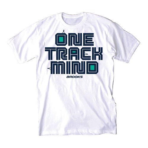 Mens Brooks One Track Mind Short Sleeve Non-Technical Tops - White L