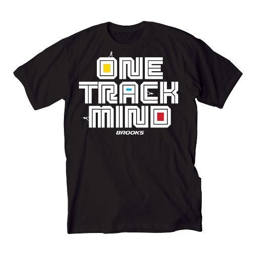 Mens Brooks One Track Mind Short Sleeve Non-Technical Tops - Black XXL