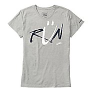 Womens Brooks Smile Run Short Sleeve Non-Technical Tops