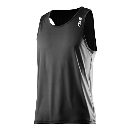 Mens 2XU GHST Singlet Bra Tank Technical Top - Black/Black XL