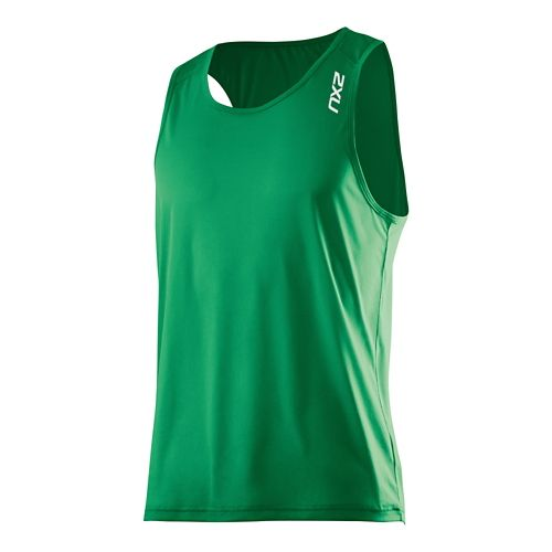 Mens 2XU GHST Singlet Bra Tank Technical Top - Hunter Green/Hunter G M