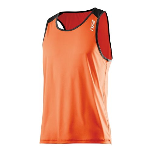 Mens 2XU GHST Singlet Bra Tank Technical Top - Lotus Orange/Black S