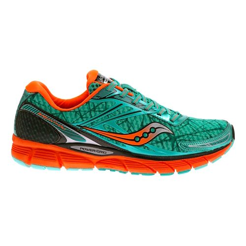 Womens Saucony Breakthru Running Shoe - Blue/ViziOrange 7.5