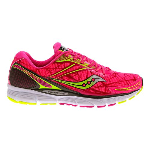 Womens Saucony Breakthru Running Shoe - Pink/Citron 11.5