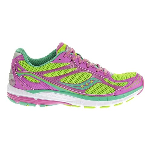 Kids Saucony Ride 7 Running Shoe - Slime/Magenta 6.5Y