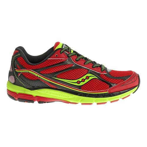Kids Saucony Ride 7 Running Shoe - Red/Citron 3.5Y