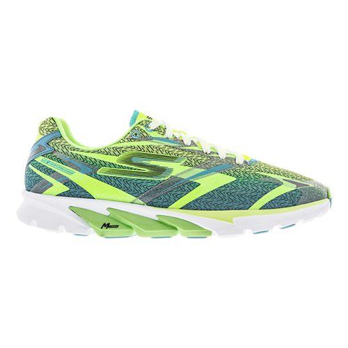 Mens Skechers GO Run 4 Running Shoe - Lime / Blue 9