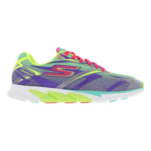Womens Skechers GO Run 4 Running Shoe - Aqua / Purple 9.5