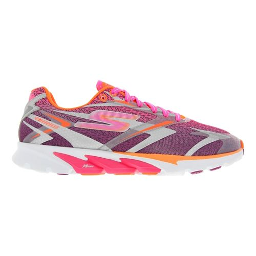Womens Skechers GO Run 4 Running Shoe - Hot Pink / Orange 8