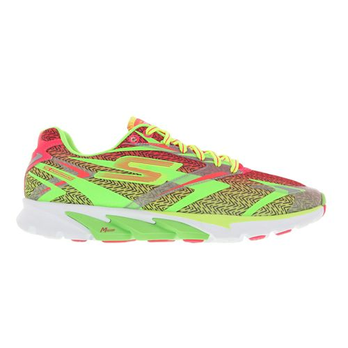 Womens Skechers GO Run 4 Running Shoe - Lime / Hot Pink 7.5