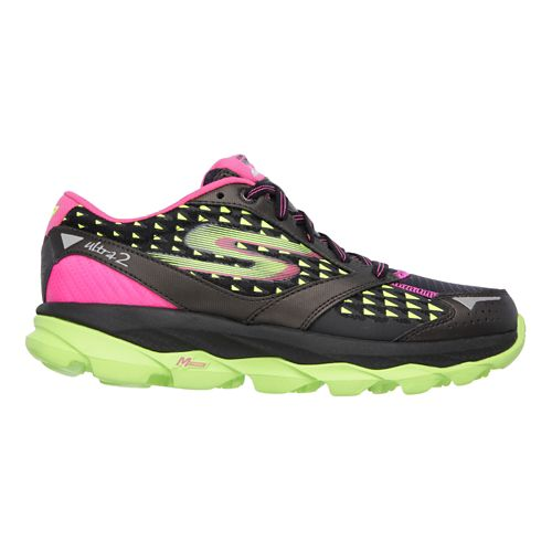 Womens Skechers GO Run Ultra 2 Running Shoe - Black / Lime 11