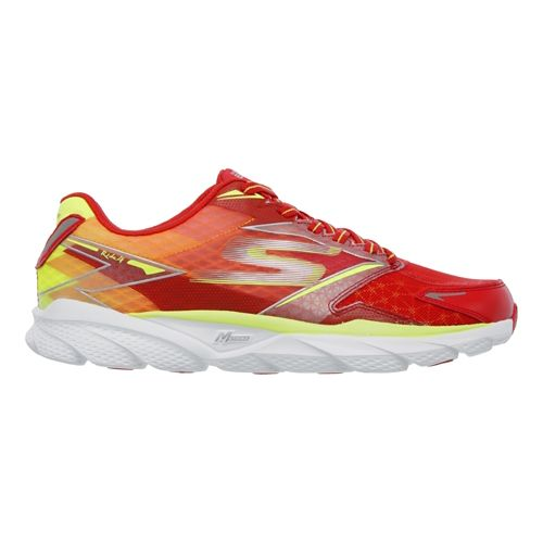 Mens Skechers GO Run Ride 4 Running Shoe - Red / Lime 13