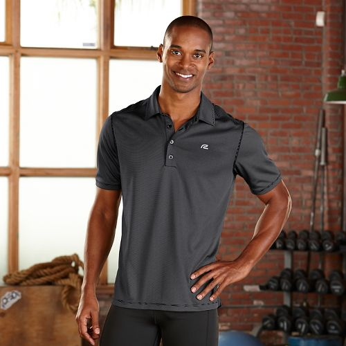 Mens R-Gear Powerhouse Polo Short Sleeve Technical Tops - Heather Charcoal Stripe L