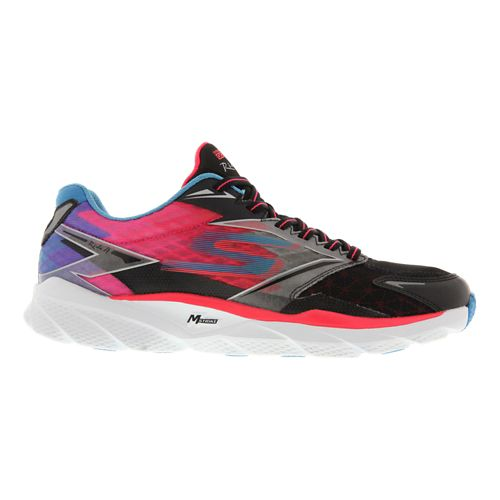 Womens Skechers GO Run Ride 4 Running Shoe - Black / Coral 5