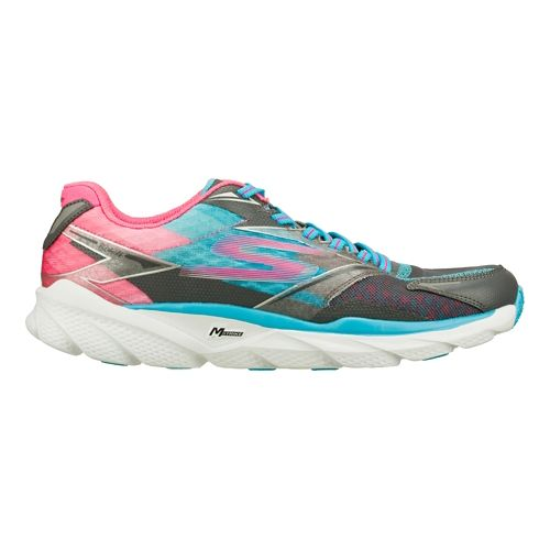Womens Skechers GO Run Ride 4 Running Shoe - Charcoal / Blue 10