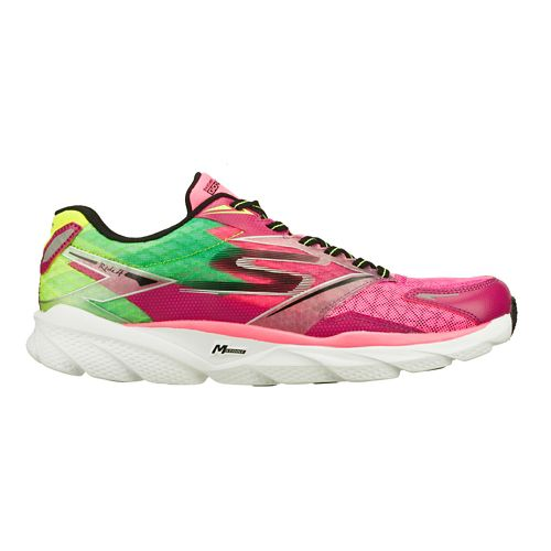 Womens Skechers GO Run Ride 4 Running Shoe - Hot Pink / Lime 8.5