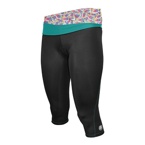 Womens De Soto Femme Carrera Tri Capri Tights - Black/Fiji Teal XL