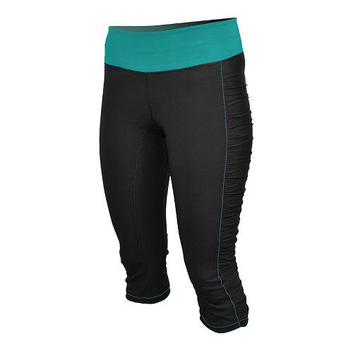 Womens De Soto Femme Run Knicker Capri Tights - Black/Fiji Teal XL