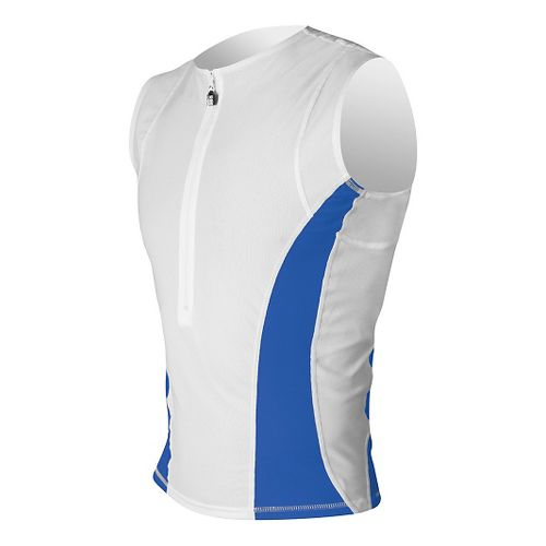 Mens De Soto SDS Tri Jersey Sleeveless Technical Top - White/Royal S