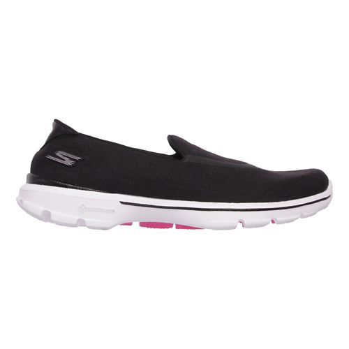 Womens Skechers GO Walk 3 Walking Shoe - Black/White 9