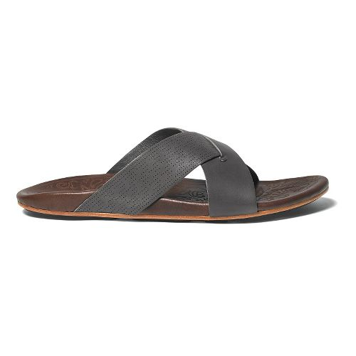 Mens OluKai Punono Slide Sandals Shoe - Charcoal/Dark Java 10