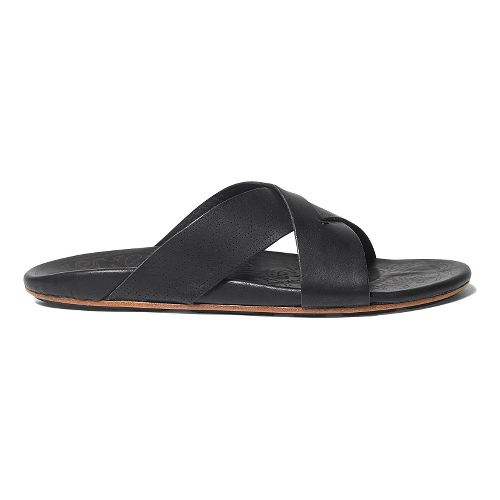 Mens OluKai Punono Slide Sandals Shoe - Black/Black 12