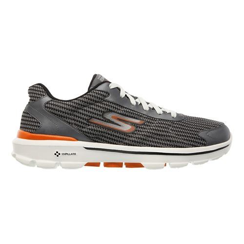Mens Skechers GO Walk 3 - Fit Knit Walking Shoe - Charcoal / Orange 10 ...