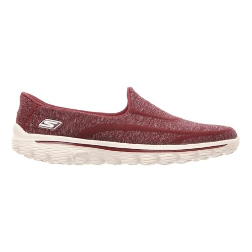 Womens Skechers GO Walk 2 - Super Sock Walking Shoe - Burgundy 8.5