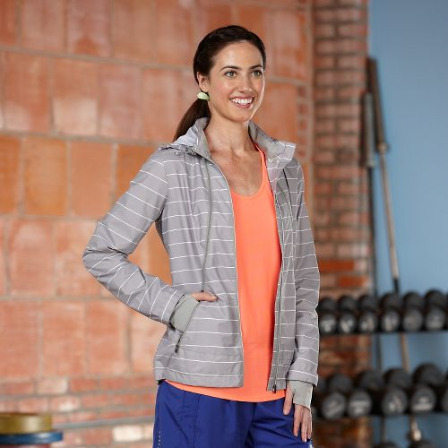 Womens R-Gear Zip To It Striped Lightweight Jackets - Dove Grey M
