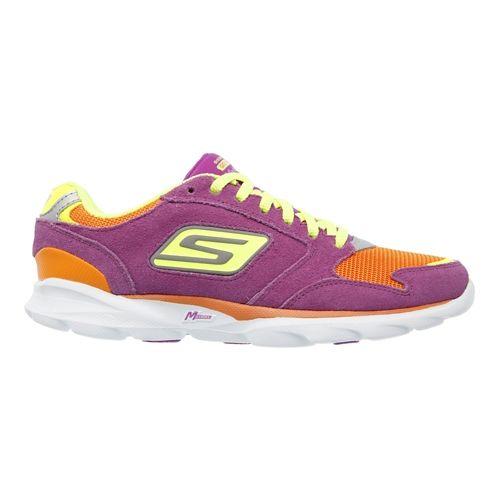 Womens Skechers GO Run Sonic - Victory Running Shoe - Purple / Orange 6.5