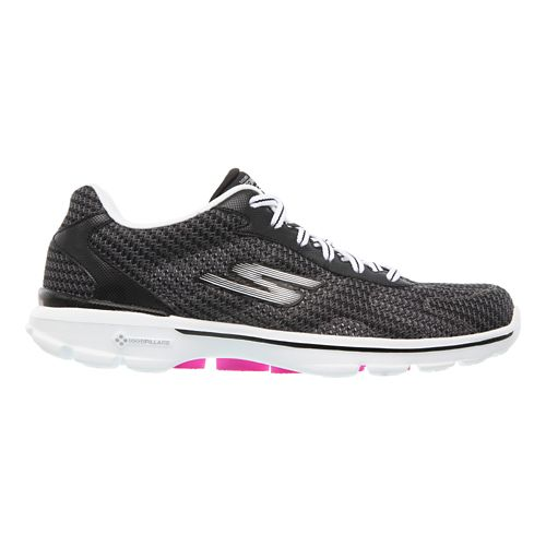 Womens Skechers GO Walk 3 - FitKnit Walking Shoe - Black/White 9.5