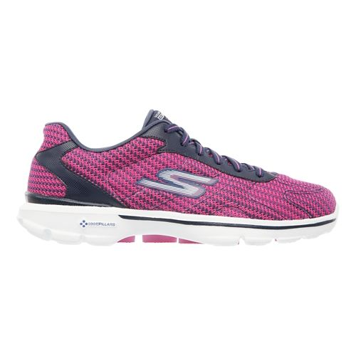 Womens Skechers GO Walk 3 - FitKnit Walking Shoe - Navy / Hot Pink 5 ...