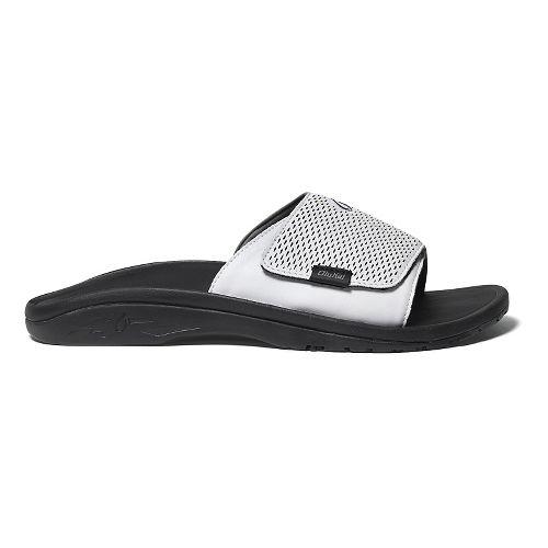 Mens OluKai Kekoa Slide Sandals Shoe - White/Black 14