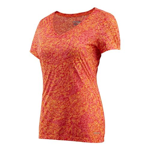 Womens Saucony Daybreak Short Sleeve Technical Tops - Cherry Burst M